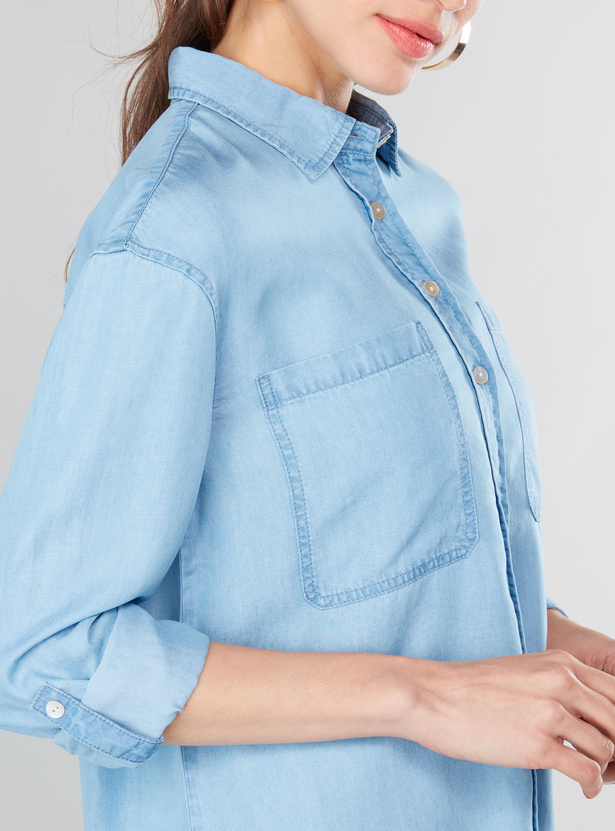 Solid Oversized Denim Shirt with Patch Pockets
