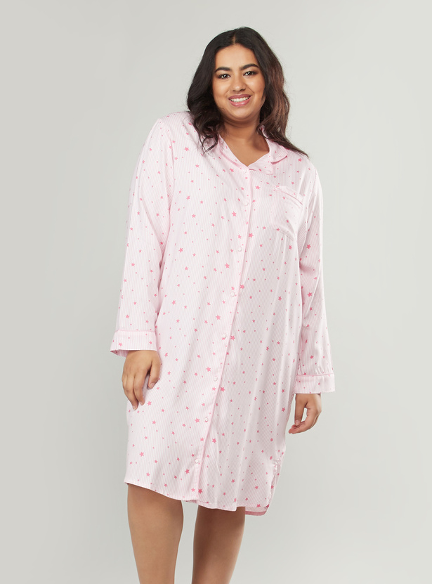 Printed Sleepshirt with Spread Collar and Long Sleeves