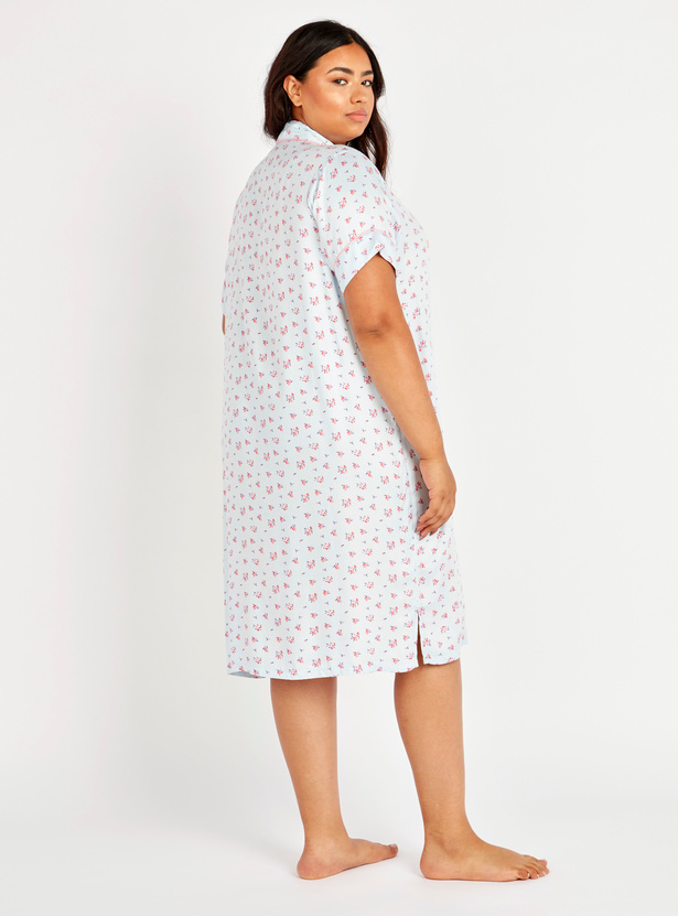 Printed Sleepshirt with Short Sleeves and Chest Pocket