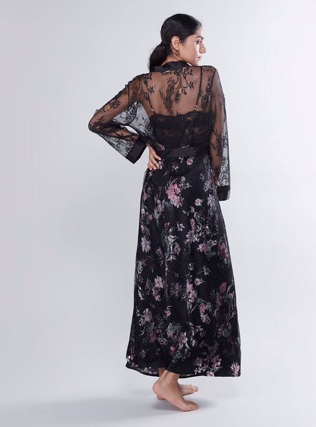 Lace Robes with Long Sleeves and Tie Ups