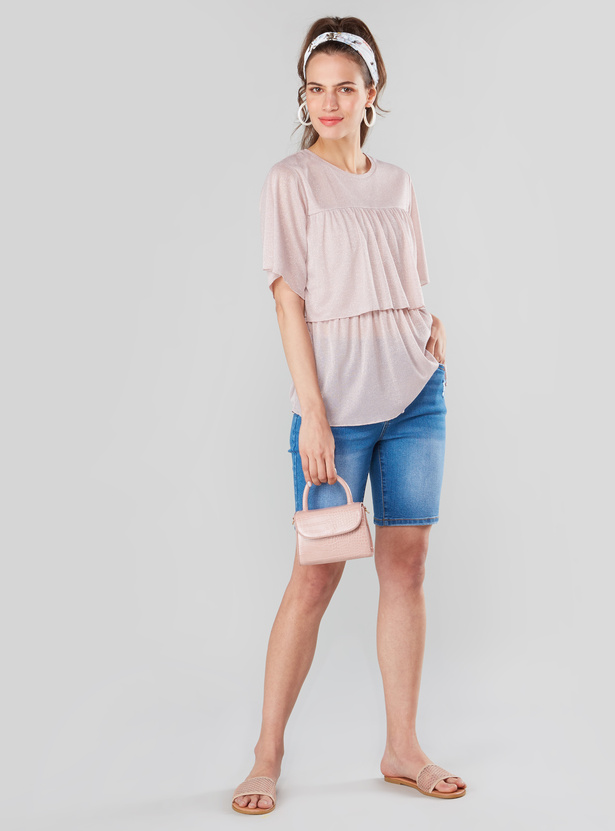 Solid Ruffled T-shirt with Round Neck and Flared Sleeves