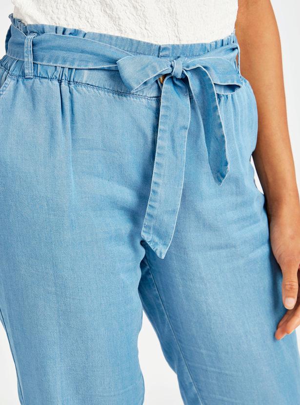 Solid Denim Jog Pants with Pocket Detail and Tie Ups