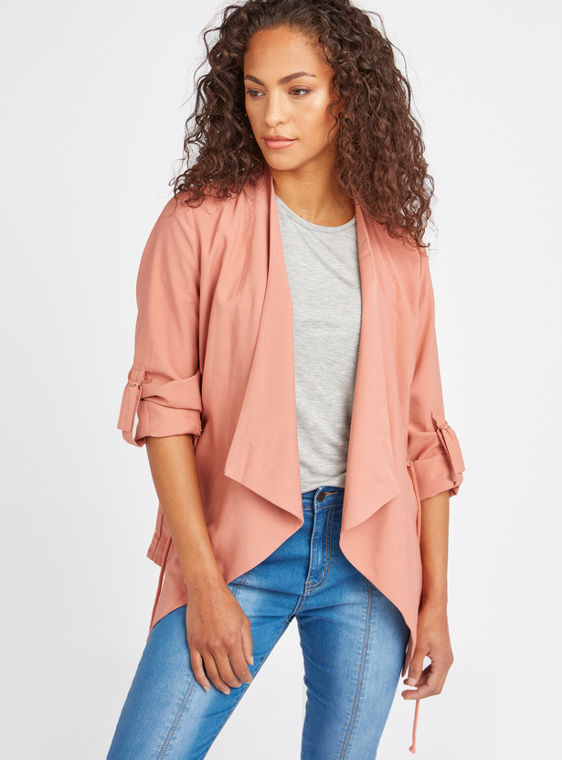 Solid Waterfall Jacket with Pocket Detail and 3/4 Sleeves
