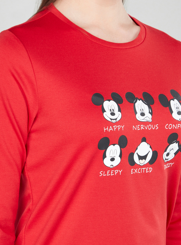 Mickey Mouse Printed Round Neck Sweatshirt with Long Sleeves