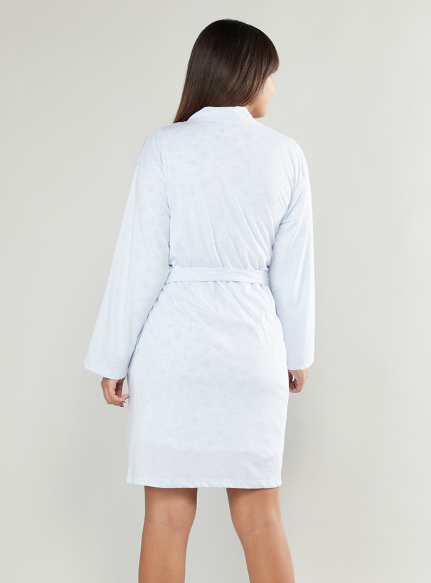 Solid Maternity Robe with Front Knot Styling