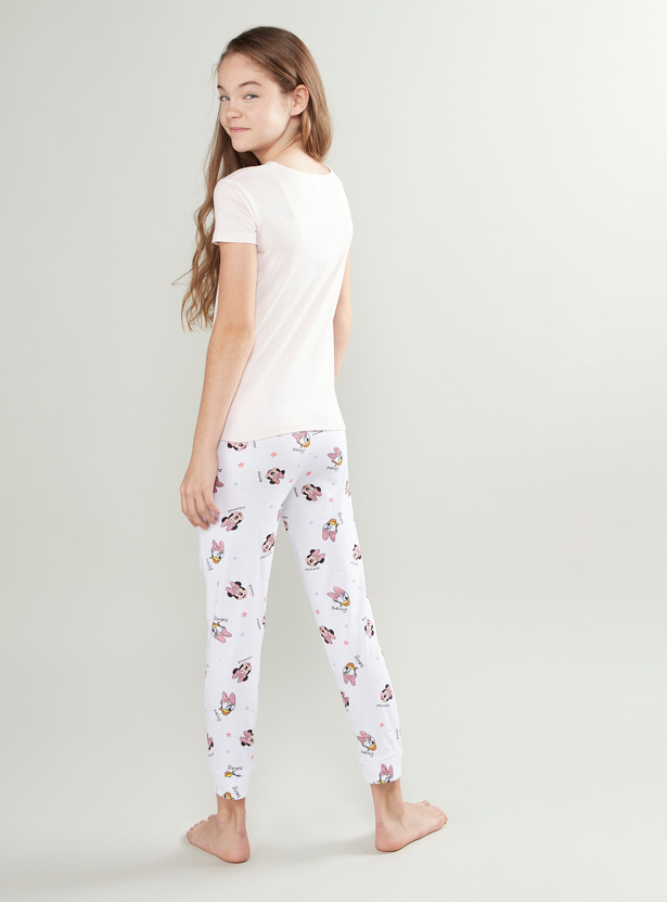 Minnie Mouse Daisy Duck Printed T-shirt with Full Length Jog Pants