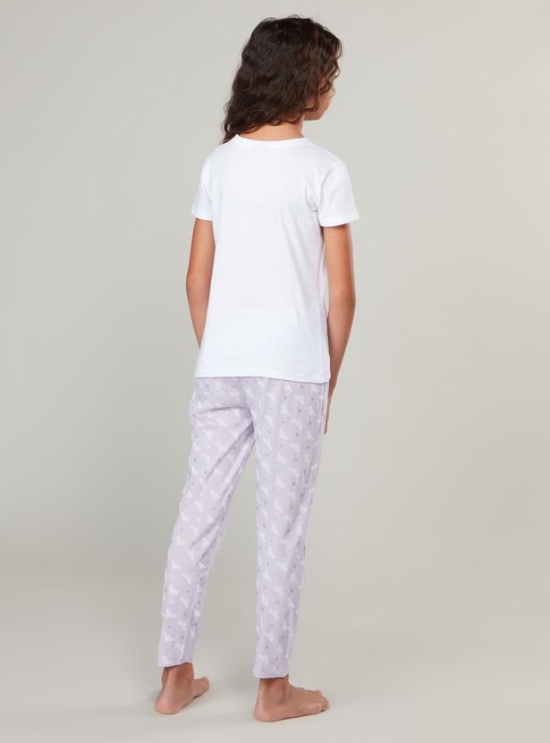 Princess Print Round Neck T-shirt and Pyjama Set