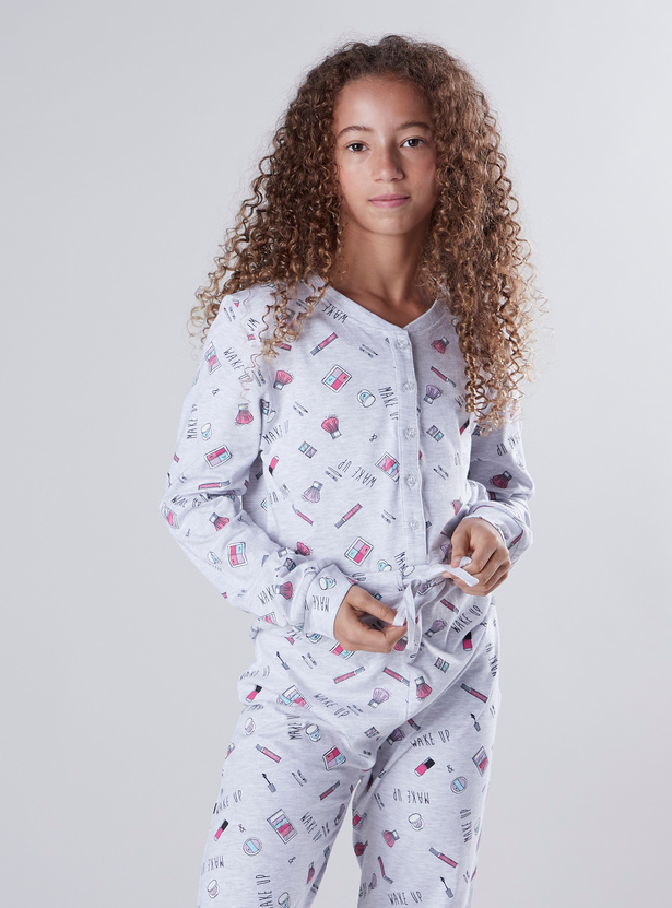 Printed Sleepsuit with Long Sleeves and Tie Ups