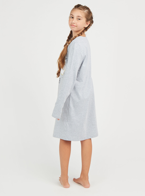 Printed Knee Length Sleep Dress with Round Neck and Long Sleeves