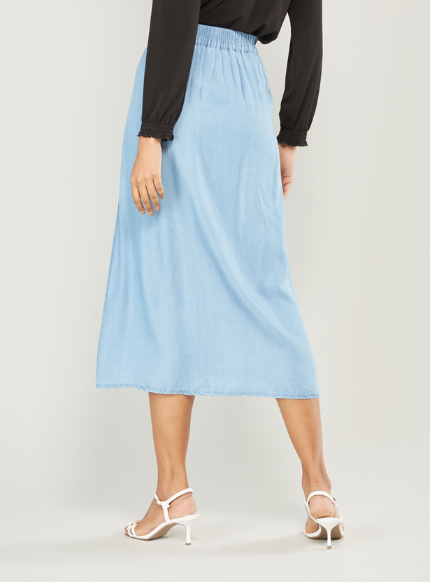 Solid Midi A-line Skirt with Pocket Detail and Tie Ups