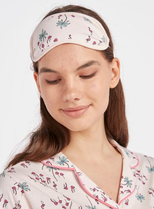 Printed Assorted 3-Piece Sleepshirt with Reversible Eye Mask