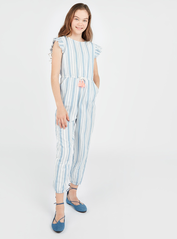 Striped Jumpsuit with Cap Sleeves and Tie Ups