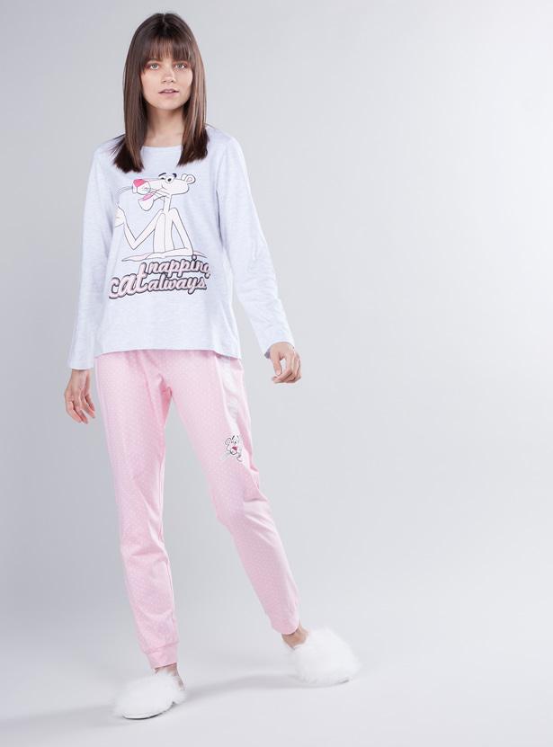 Pink Panther Printed T-shirt and Full Length Jog Pants Set