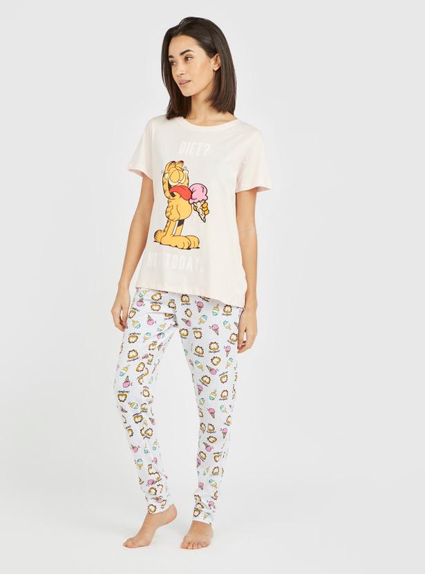 Garfield Print Round Neck T-shirt with Pyjamas Set
