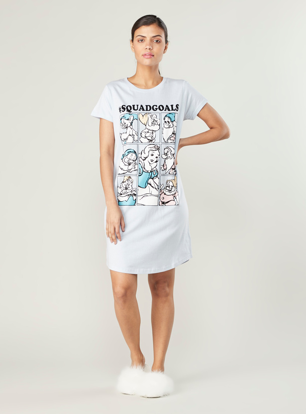 Snow White Print Sleep Dress with Round Neck and Short Sleeves