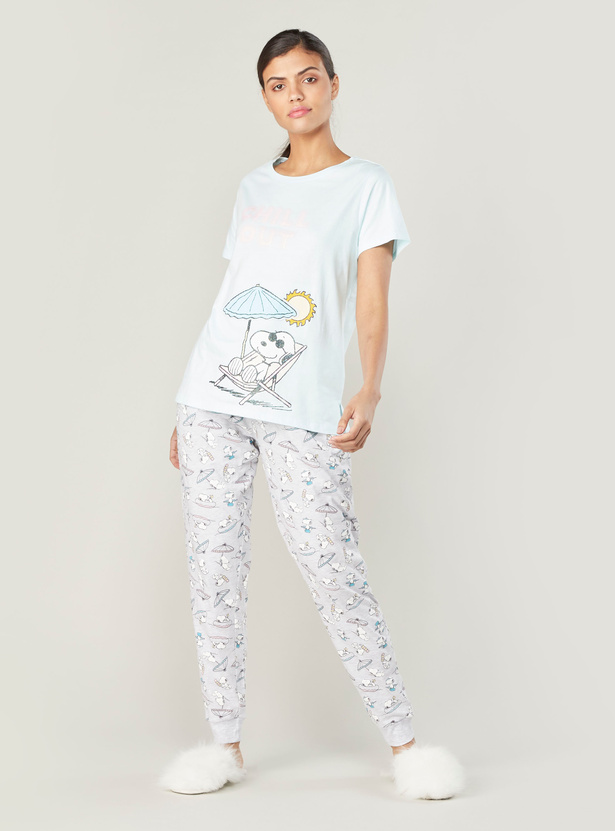 Snoopy Print Short Sleeves T-shirt and Full Length Jog Pants Set