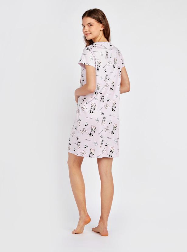 Minnie Mouse Print Round Neck Sleepshirt