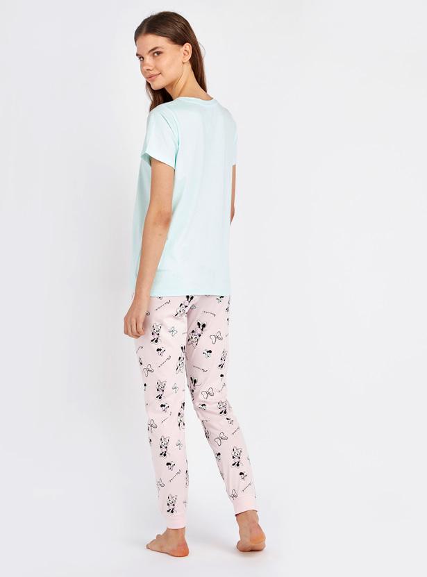 Minnie Mouse Printed Round Neck T-shirt and Pyjama Set