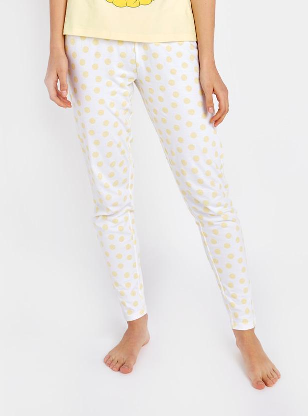 Princess Print Round Neck T-shirt and Pyjamas Set
