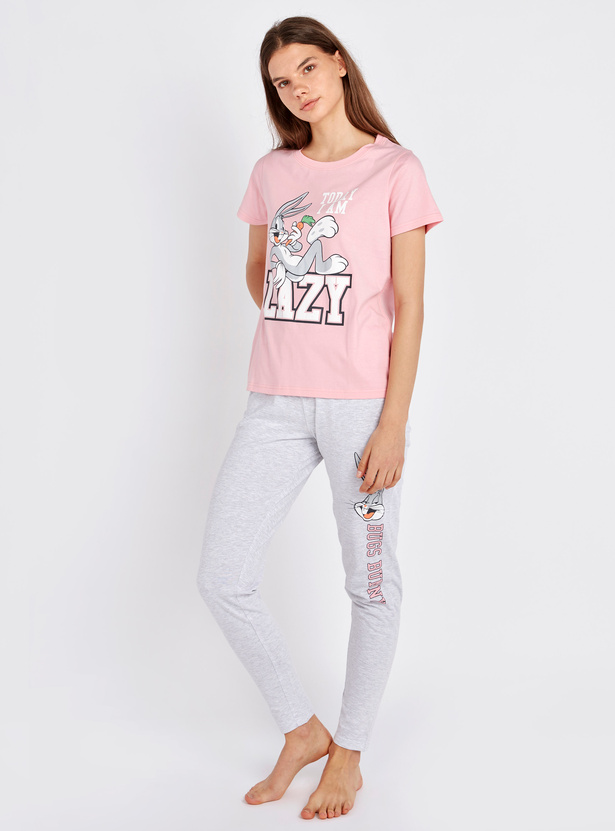Bugs Bunny Print Round Neck T-shirt and Pyjama Set