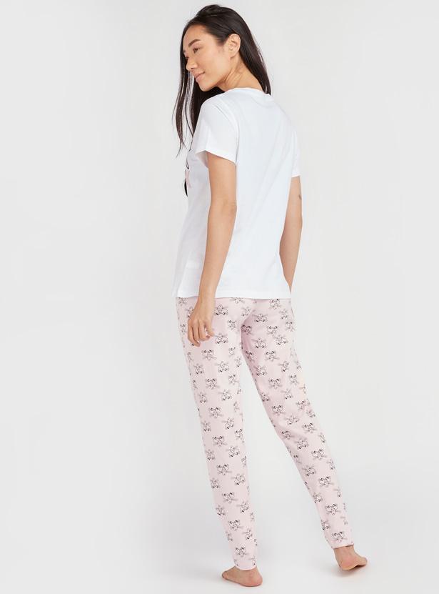 Pink Panther Print Round Neck T-shirt and Jog Pants Set