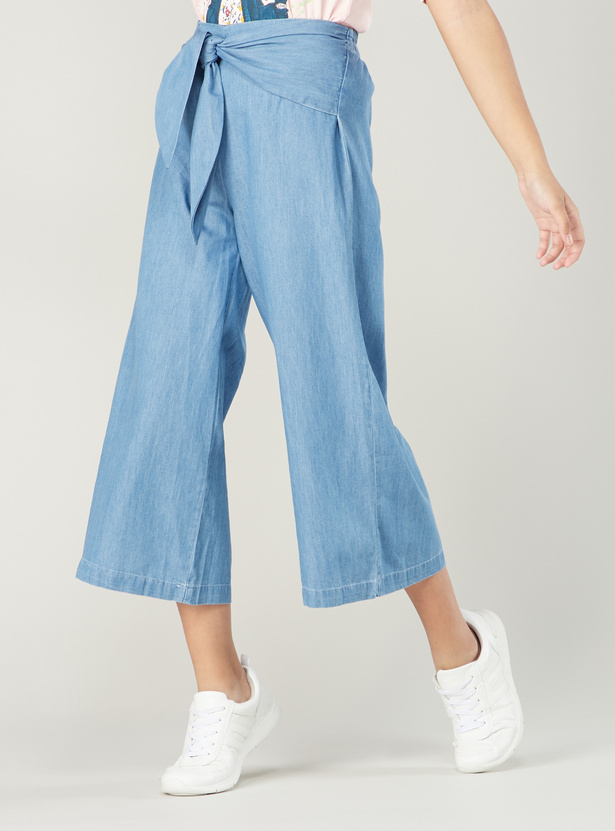Plain Culottes with Elasticised Waistband and Tie Ups