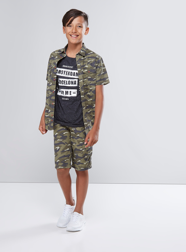 Camouflage Printed Shirt with Short Sleeves and Pocket Detail