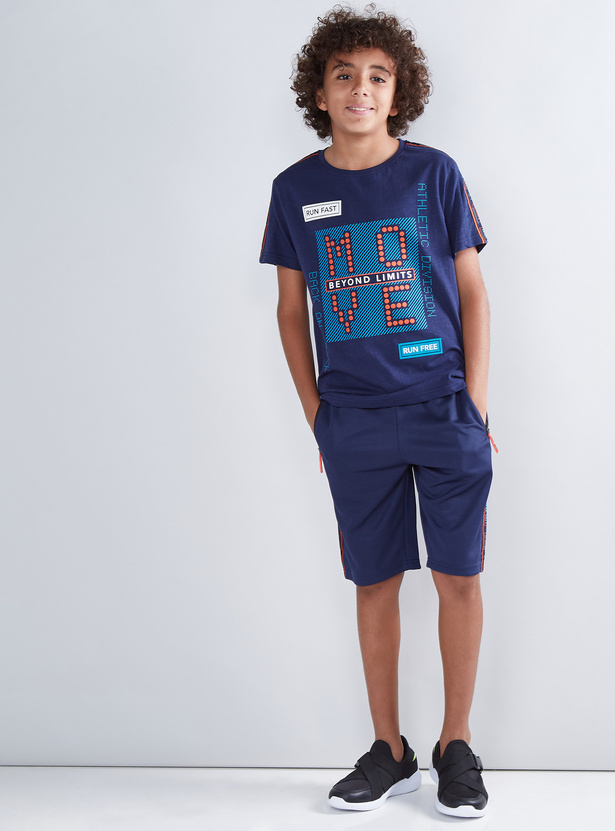 Tape and Pocket Detail Shorts with Drawstring