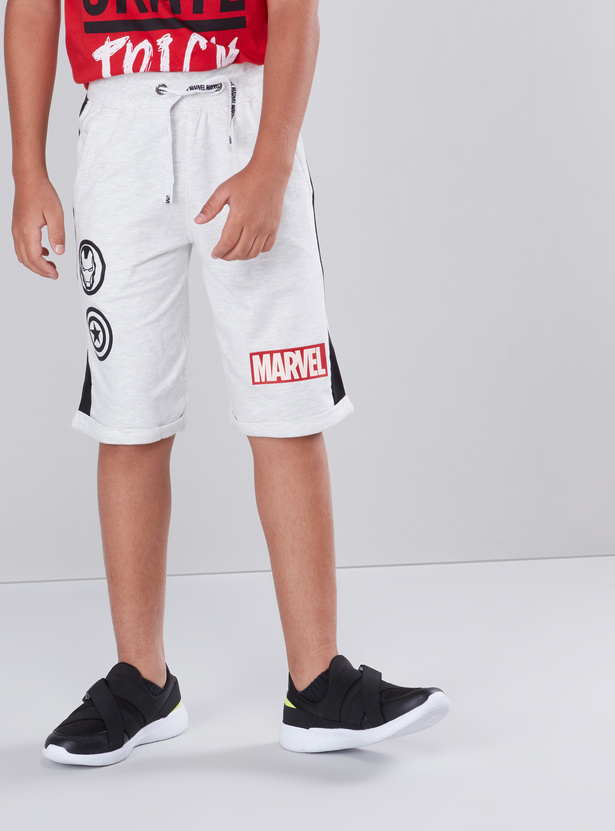 Marvel Printed Shorts with Pocket Detail and Drawstring Closure