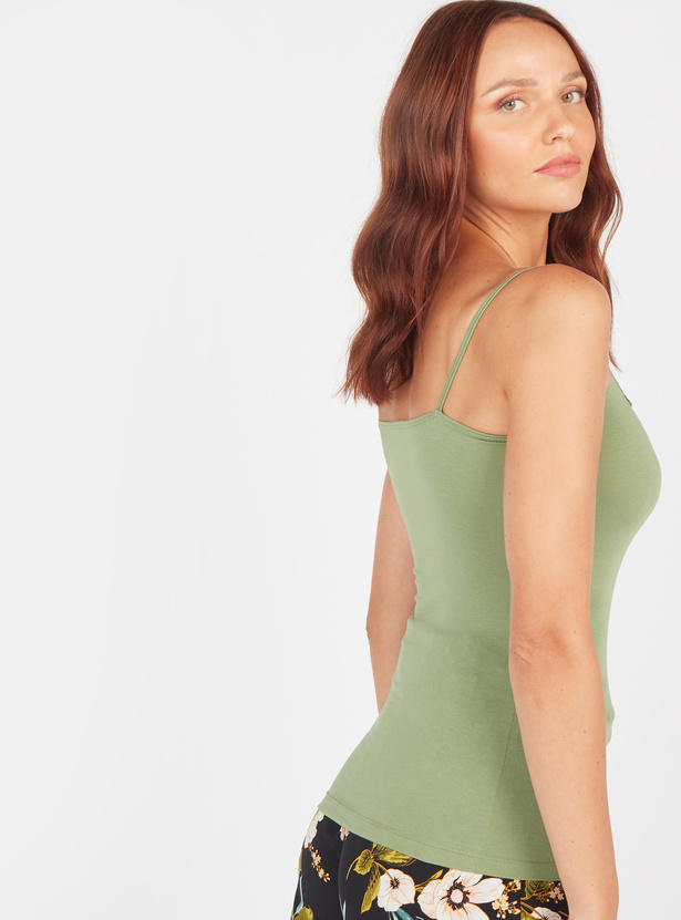 Solid Camisole with Spaghetti Straps and Lace Detail