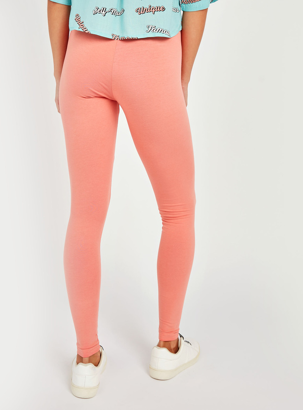 Full Length Solid Anti-Pilling Leggings with Elasticised Waistband