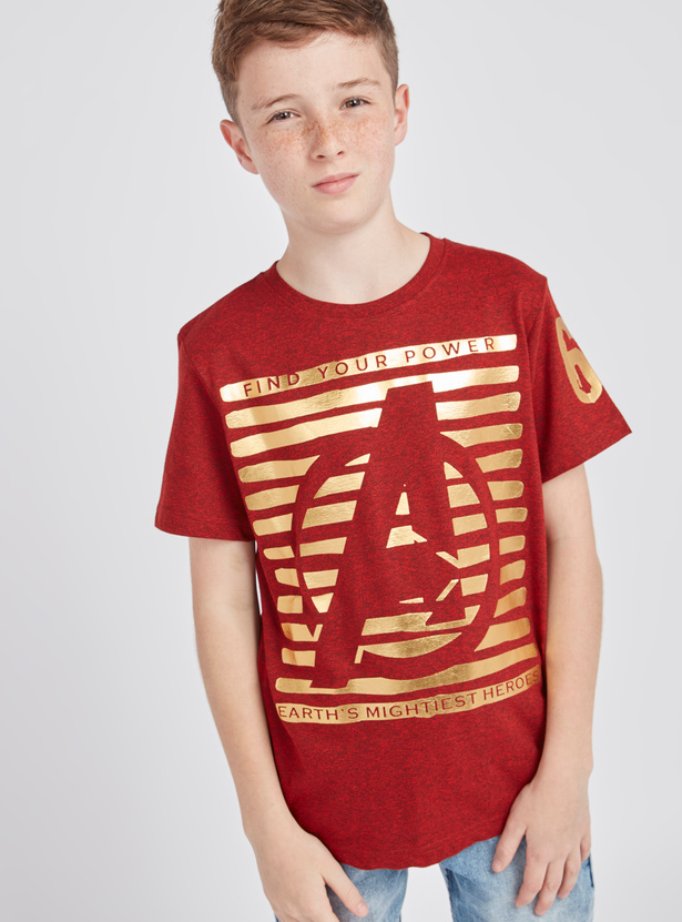 Avengers Print T-shirt with Round Neck and Short Sleeves
