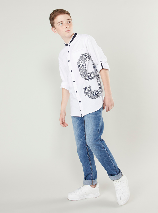 Printed Shirt with Mandarin Collar and Long Sleeves