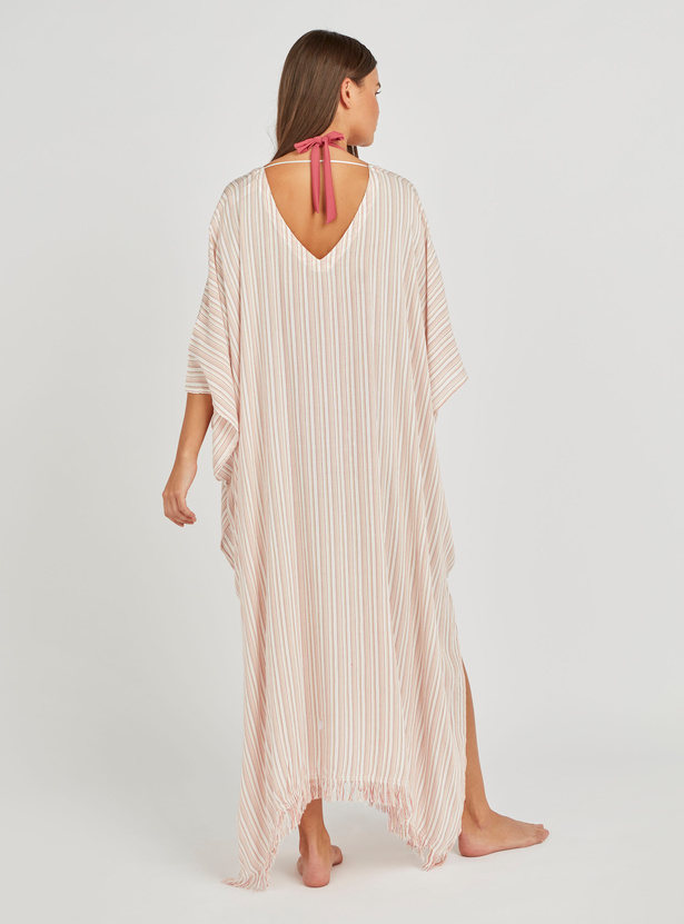 Stripe V-neck Kaftan Cover-Up with 3/4th Sleeves
