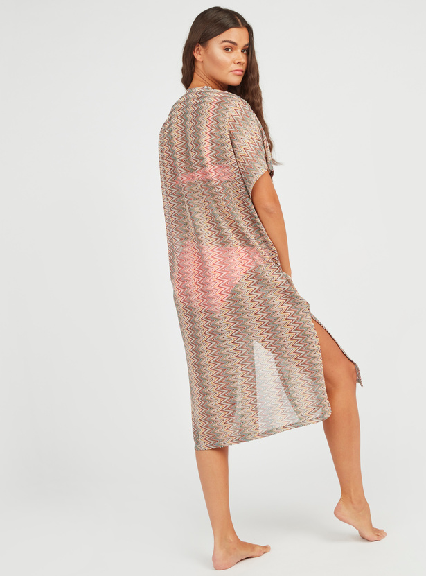 Textured Longline Kaftan with Extended Sleeves and Side Slit