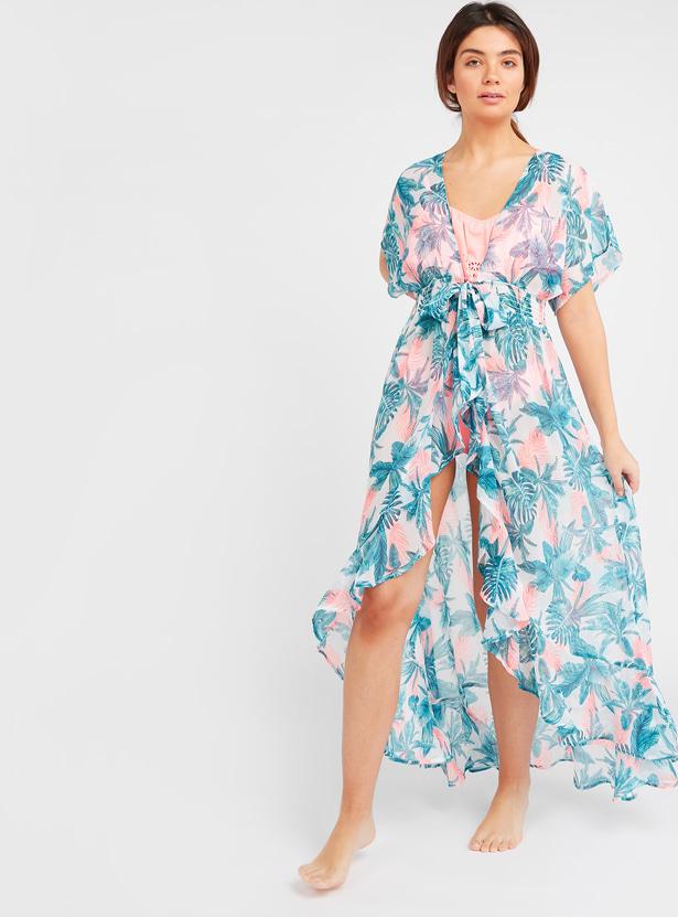 Floral Print Kaftan Swimwear Top with Tie Ups and Short Sleeves
