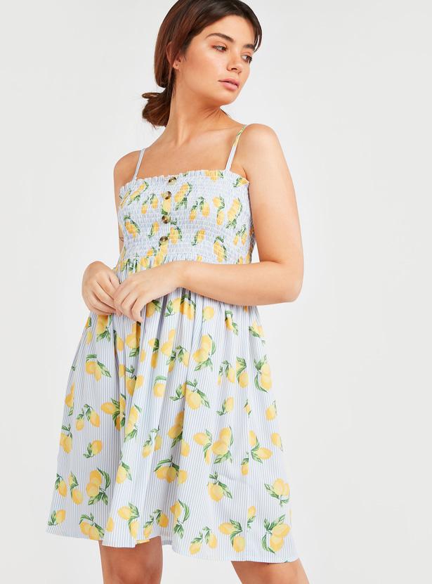 All Over Lemon Print Tube Dress with Smocking Detail