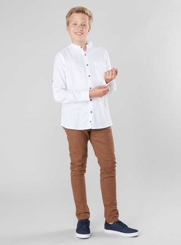 Solid Shirt with Mandarin Collar and Long Sleeves