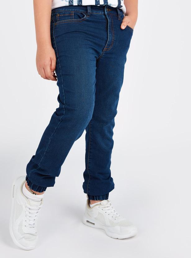 Full Length Denim Jog Pants with Pocket Detail and Belt Loops