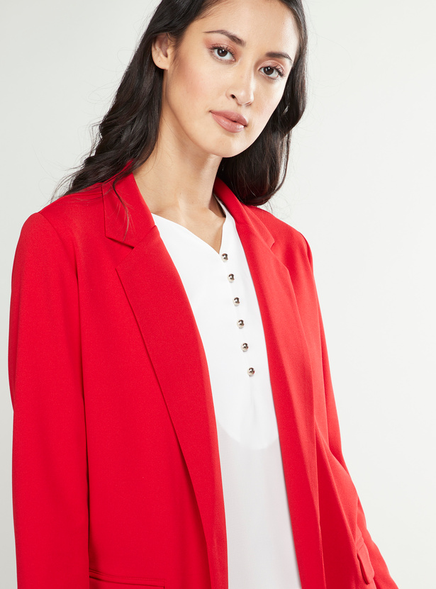 Notched Jacket with Pockets and Long Sleeves