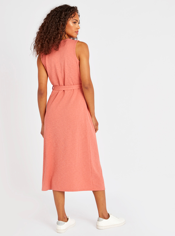 Textured Midi Sleeveless Shift Dress with Tie Ups and Button Detail
