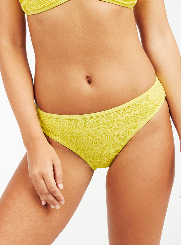 Textured Swimwear Bikini Briefs with Elasticised Waistband