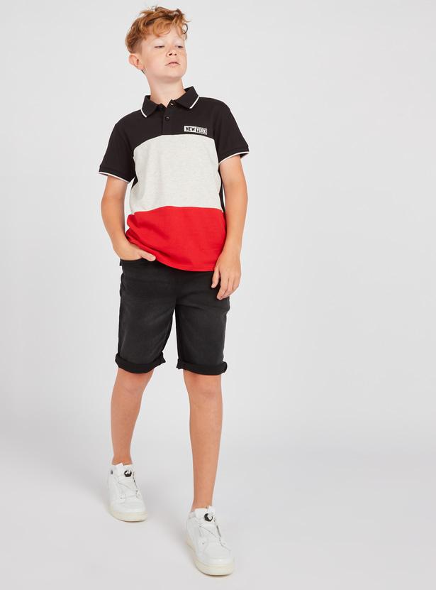 Colour Block Polo T-shirt with Denim Shorts