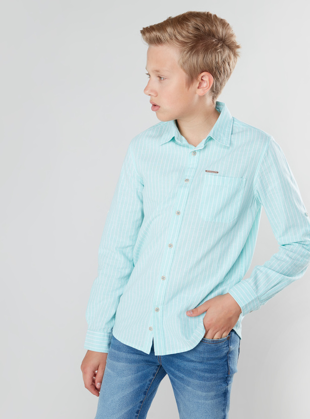 Striped Shirt with Long Sleeves and Button Tab