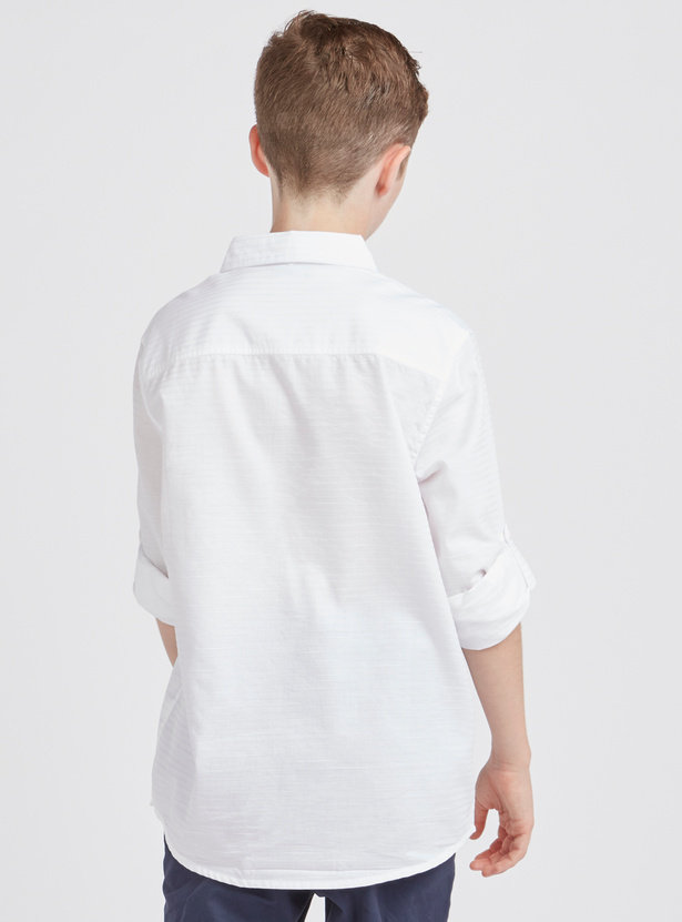 Solid Shirt with Long Sleeves and Chest Pocket