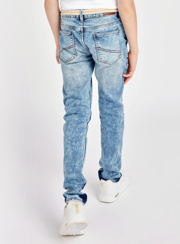 Acid Wash Jeans with Pockets and Button Closure