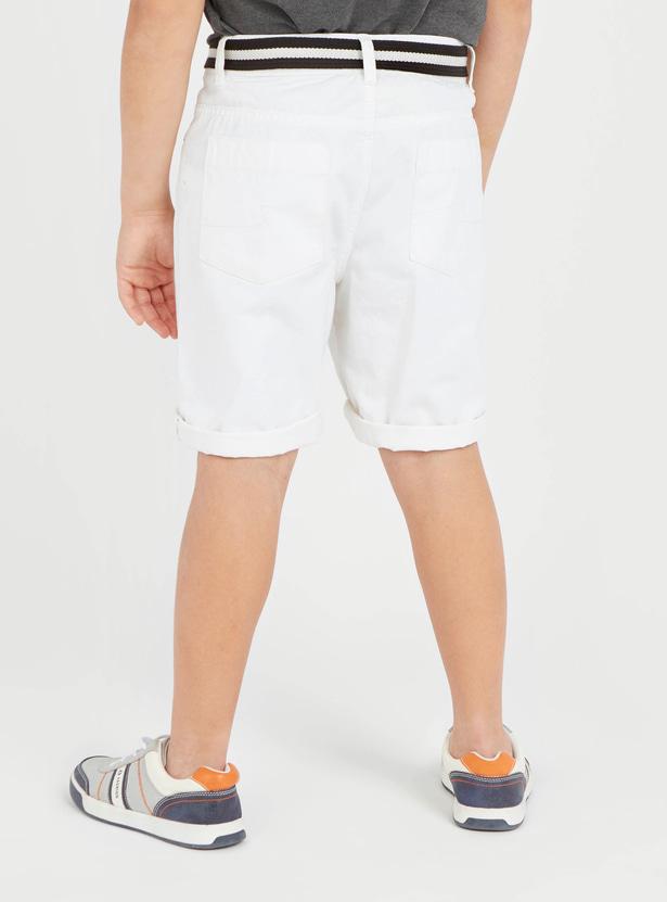 Textured Denim Shorts with Belt and Pocket Detail
