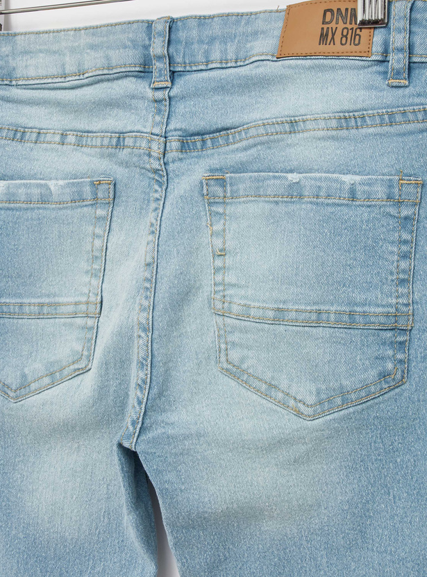 Distressed Jeans with Pocket Detail and Belt Loops