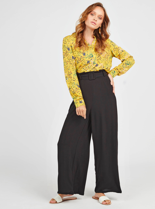 Solid Mid-Rise Palazzo Pants with Paper Bag Waist and Belt