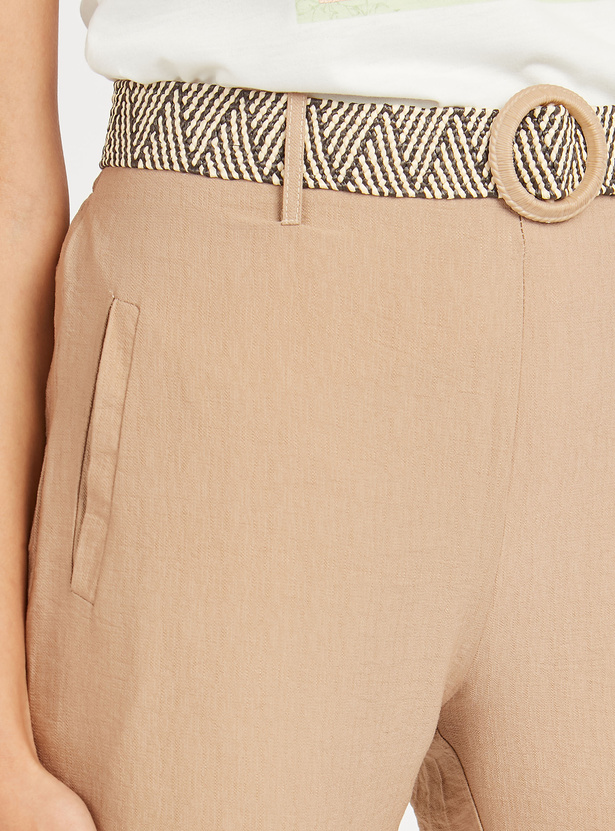 Textured Cropped Pants with Pocket Detail and Belt